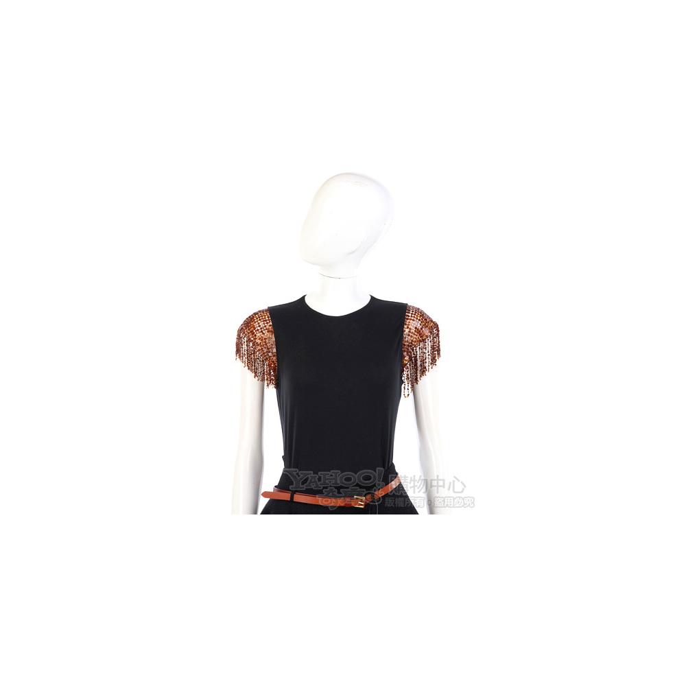 GENNY 黑色/咖啡色亮片綴飾拼接短袖上衣