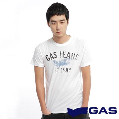 GAS-簡約低調-二手印花感設計短袖圓領T恤-白-男款