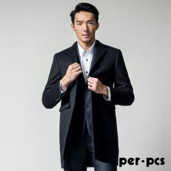 per-pcs 雅緻風尚硬挺修身毛料大衣_黑色(817911)