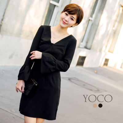 東京著衣-yoco安琪聯名香榭巴黎V領喇叭袖洋裝-XS.S.M.L(共二色)