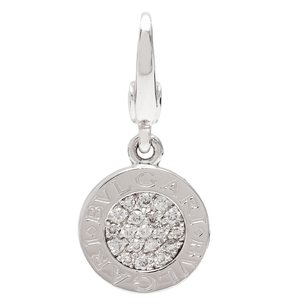 BVLGARI 寶格麗 經典Bvlgari Bvlgari 系列18K白金鑲鑽小圓牌墜飾