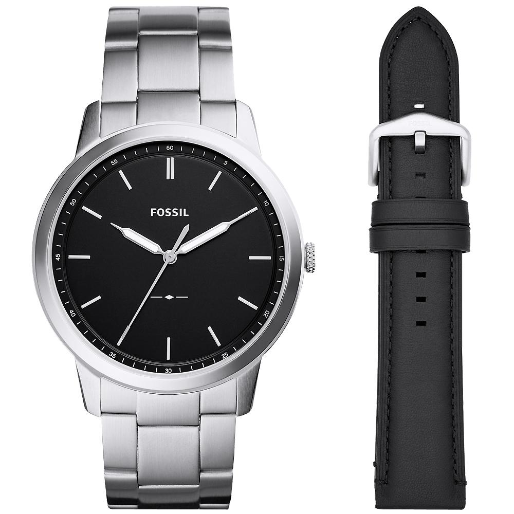 FOSSILMinimalist簡約真皮手錶禮盒組(FS5451SET)-黑X銀/44mm