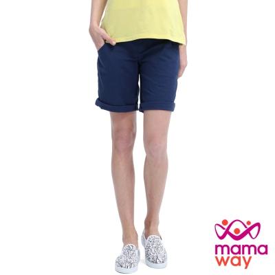 Mamaway 孕期竹節涼爽反摺五分褲(共四色)