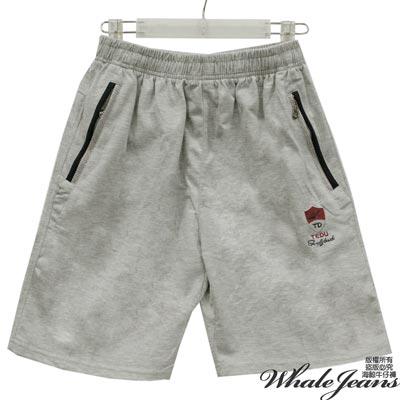 WHALE JEANS 男款流行元素電繡圖章腰伸縮束口中短棉褲-2色