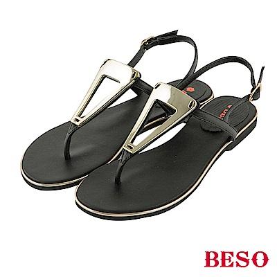 BESO 夏豔狂放 金屬飾釦T帶真皮涼鞋~黑