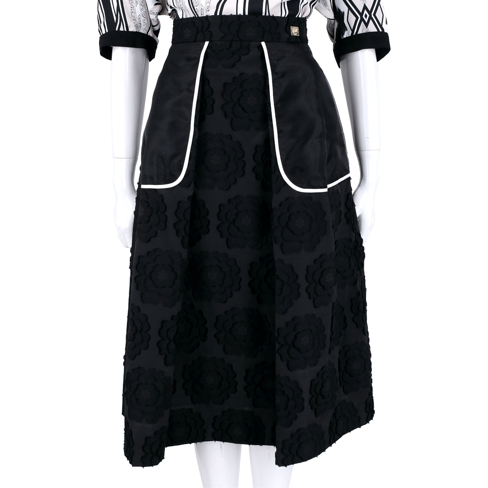 CLASS Roberto Cavalli 黑色花朵浮雕及膝裙