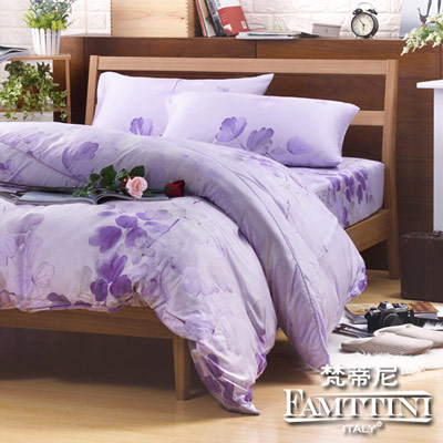 梵蒂尼Famttini-戀香卉影.紫 加大頂級純正天絲萊賽爾兩用被床包組