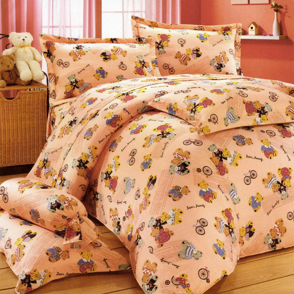 艾莉絲-貝倫 小熊家族 高級混紡棉 雙人鋪棉兩用被床包四件組