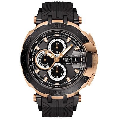 TISSOT天梭 T-RACE MOTOGP 2018限量版機械錶-玫瑰金框x黑/45mm