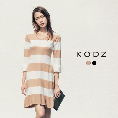 東京著衣-KODZ 歐美休閒寬條針織洋裝-S.M.L(共二色)