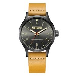 Jeep Spirit 美式復古系列時尚手錶-黑面/黃色帶-42mm