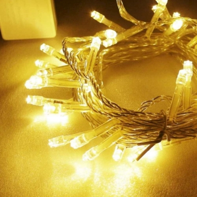聖誕燈50燈LED樹燈串(暖白光/透明線)(附控制器)高亮度又省電