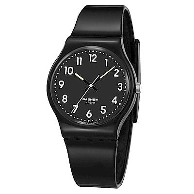 PASNEW 輕巧炫彩指針腕錶-神秘黑/34mm