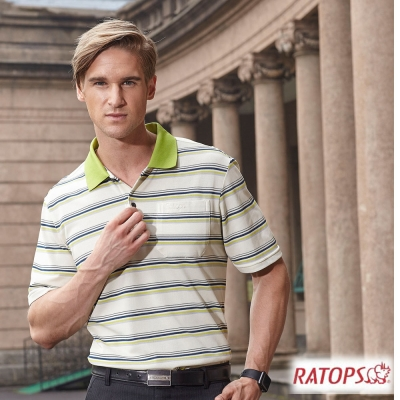 【瑞多仕-RATOPS】男 COOLMAX 短袖條紋POLO衫_DB8801
