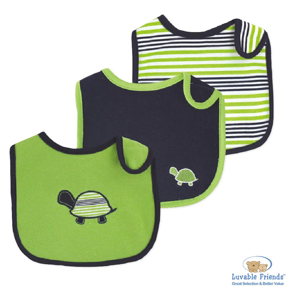 Luvable Friends 藍綠烏龜條紋圍兜口水巾3件組