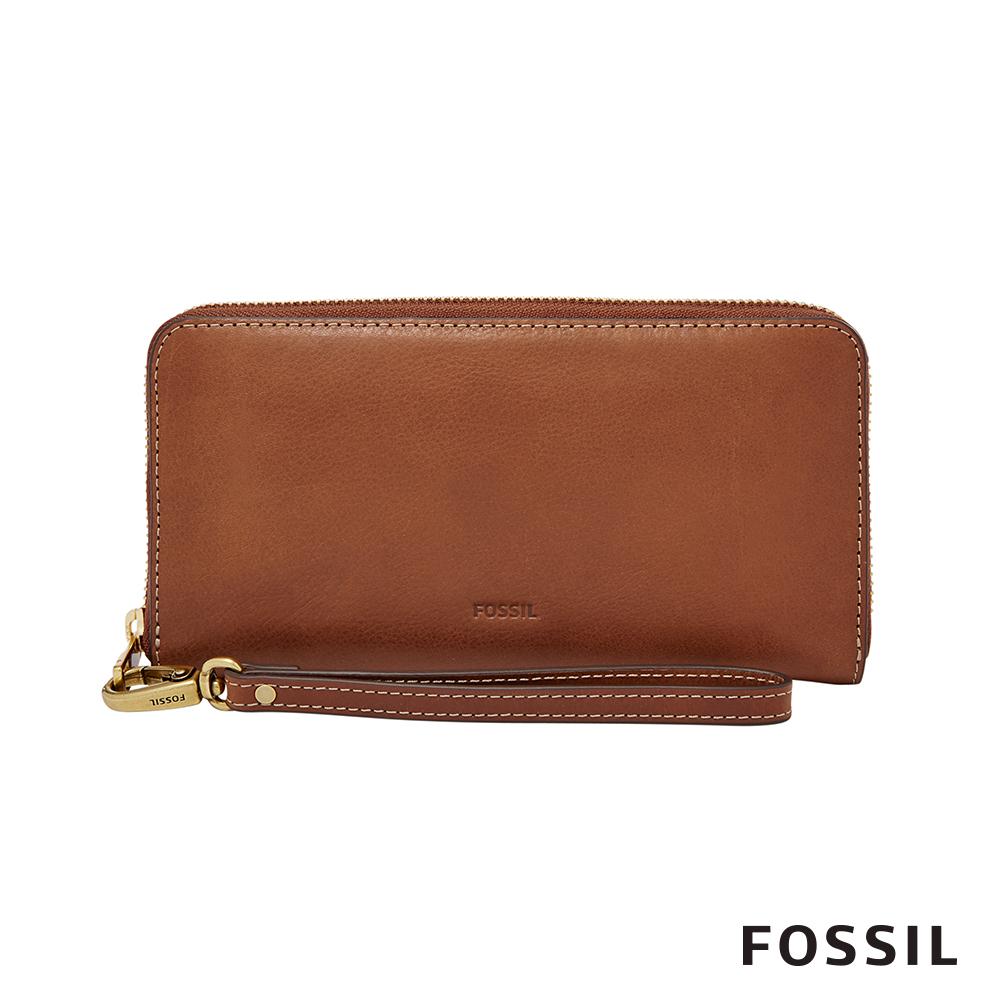 FOSSIL EMMA真皮RFID長夾- 咖啡色