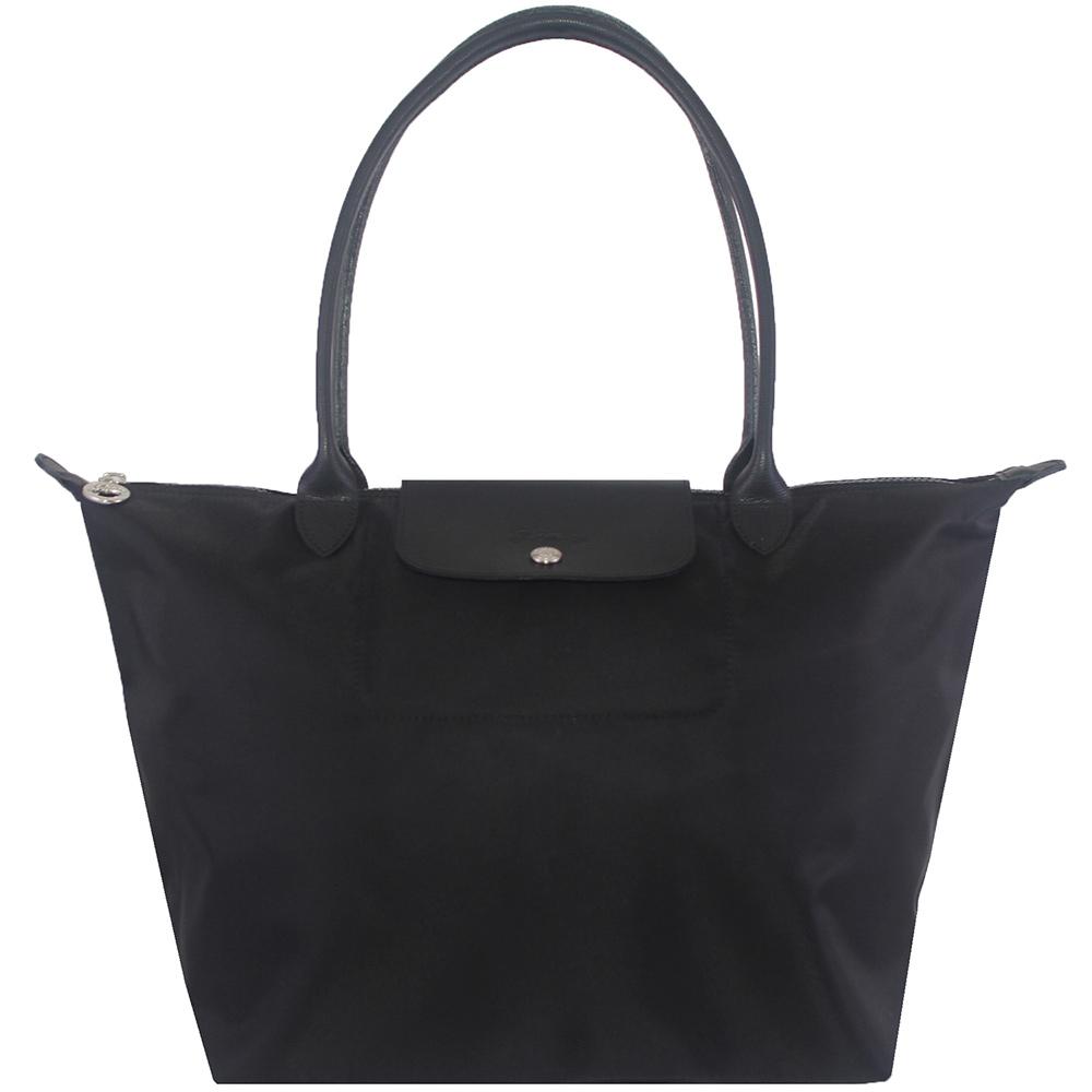 Longchamp 厚質尼龍布長帶水餃包(黑色/大)