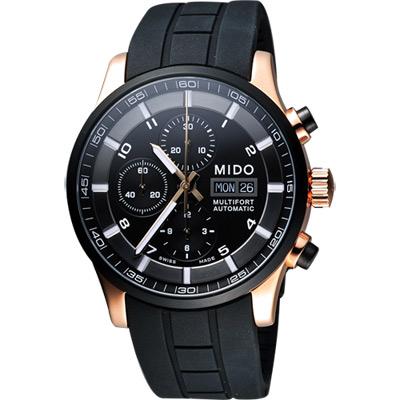 MIDO Multifort 先鋒系列極速黑金計時腕錶-黑/44mm