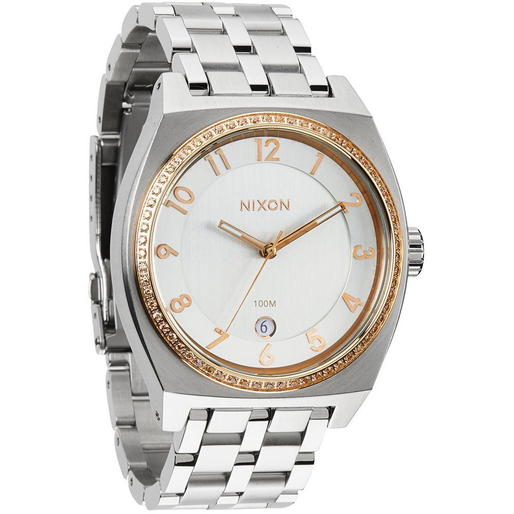 NIXON MONOPOLY輕巧晶鑽都會日期腕錶-銀x玫瑰金/40mm