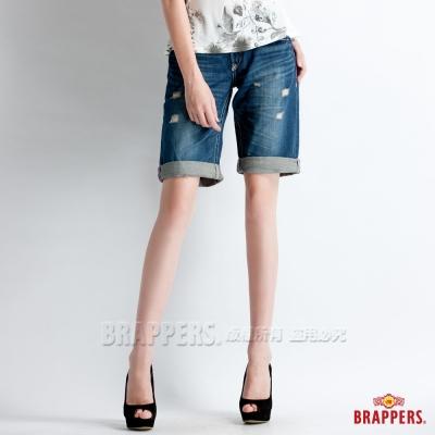 BRAPPERS 女款 Boy Firend Jeans 系列-女用五分反摺褲-藍