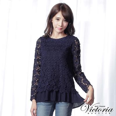 Victoria 假兩件式刺繡蕾絲九分袖T-女-深藍