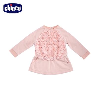 chicco玫瑰絨壓紋洋裝-粉(12個月-4歲)