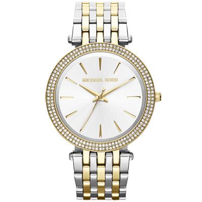 Michael Kors 光燦耀眼晶鑽都會腕錶 鋼帶-銀x雙色版/39mm