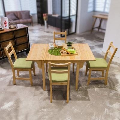 CiS自然行實木家具- 北歐雙邊延伸實木餐桌椅組一桌四椅74x122公分/原木+抹茶綠椅墊