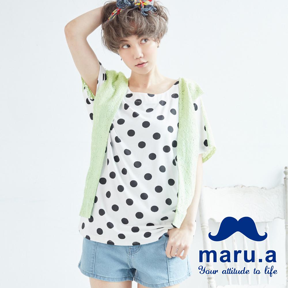 maru.a麻洛野 蕾絲披肩設計滿版圓點T-shirt