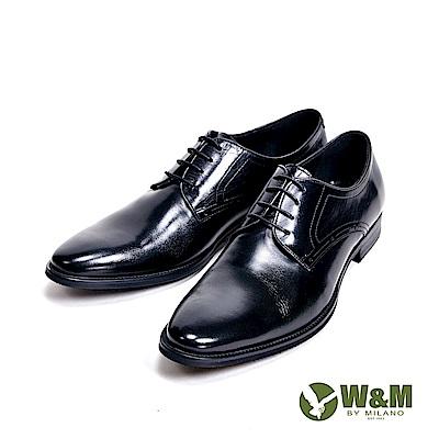 W&M 精緻壓點線車縫紳士型男皮鞋-黑