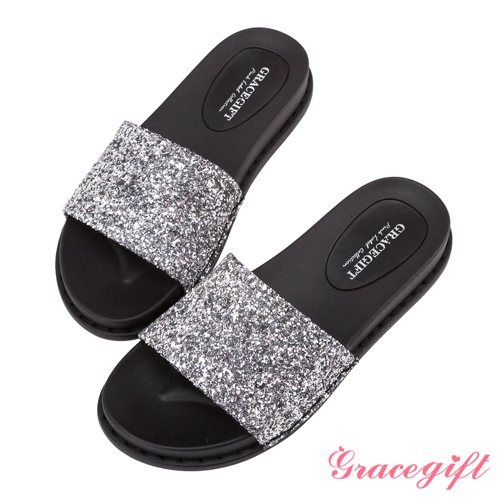 Grace gift-閃耀碎石一字寬版涼拖鞋 銀碎石