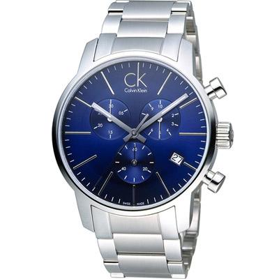 CK Calvin Klein 經典簡約計時腕錶-藍/43mm