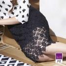 ILEY伊蕾 雙層蕾絲及膝裙(黑)