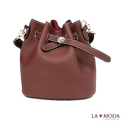 La Moda 輕鬆出遊去~小巧多Way肩背斜背水桶包(紅)