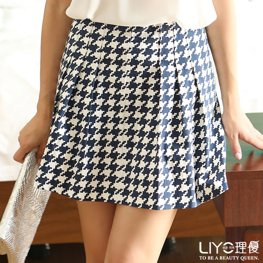LIYO理優裙子千鳥紋A字圓裙(深藍)