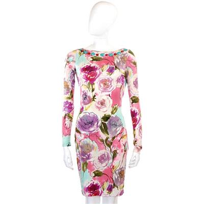 BLUGIRL 粉色花卉圖騰寶石設計長袖洋裝