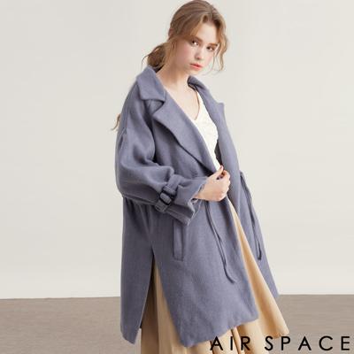 AIR SPACE 翻領抽繩設計毛呢大衣外套(藍)