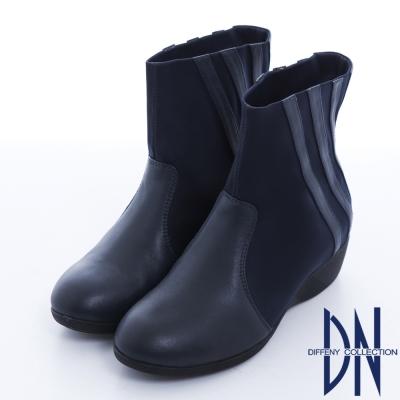 DN 韓系精選 羊皮拼接彈性布料楔型中筒靴 深藍