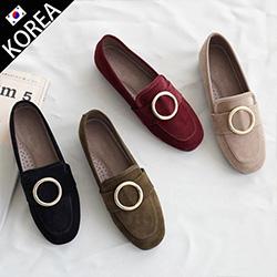 歐美經典大圓釦樂福鞋
