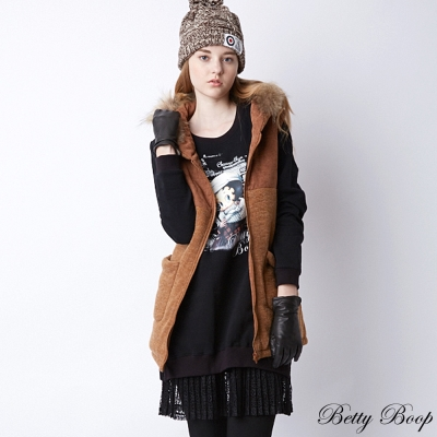 Betty Boop 百褶蕾絲裙拼接磨毛長版上衣(共二色)