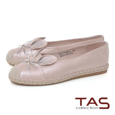 TAS 萌萌兔耳水鑽草編休閒鞋-甜美粉