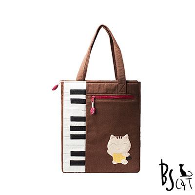 ABS貝斯貓 可愛貓咪拼布 A4可入肩背包 提袋 (咖) 88-200