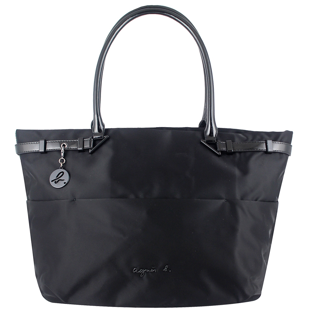 agnes b. voyage 黑色尼龍漆皮飾邊小b吊飾托特包
