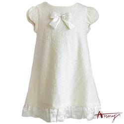 Anny優雅毛毛拼接荷葉緞質傘狀洋裝*3210米白