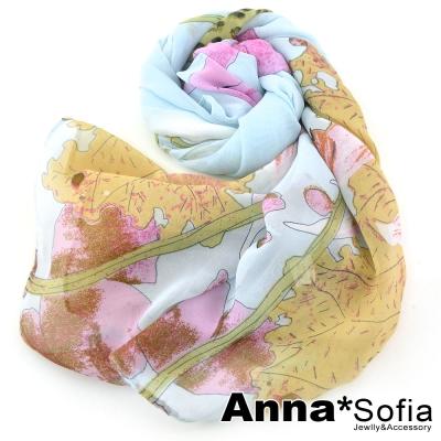 AnnaSofia-鳥語藕荷-雪紡長絲巾-藍系