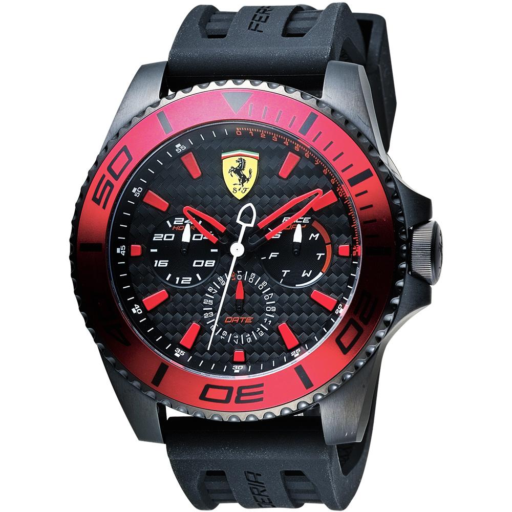 Scuderia Ferrari 法拉利 XX KERS 日曆手錶-黑x紅圈/50mm
