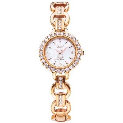 Ogival 瑞士愛其華 清馨茉莉真鑽石英腕錶-玫瑰金/27mm