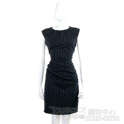 MOSCHINO 深藍色條紋抓摺款洋裝