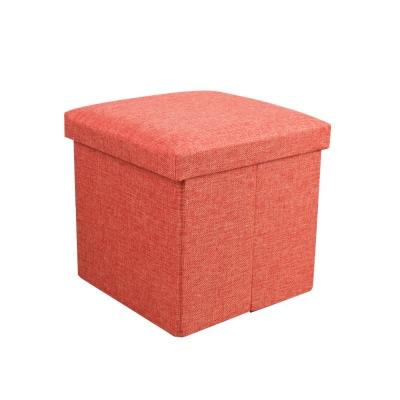 簡約麻布收納椅38x38x38cm(橘色)