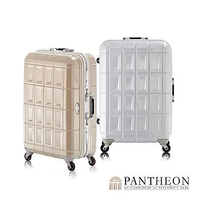 日本PANTHEON 26吋 白拉絲  網美行李箱 輕量鋁框登機箱